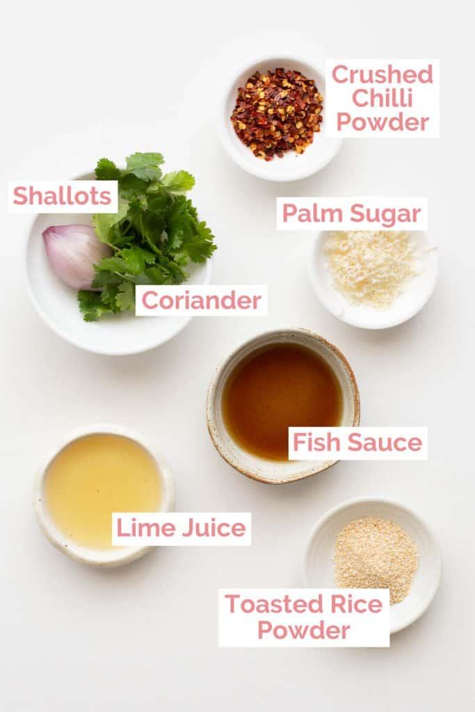 Ingredients laid out to make nam jim jaew.