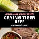 Close up angles of steak slices alongside nam jim jaew dipping sauce.