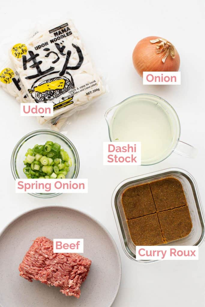 Ingredients laid out to make Udon Curry.
