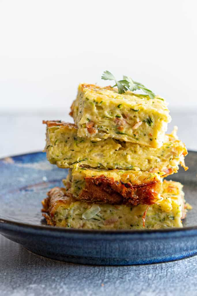 A stack of zucchini slice pieces.