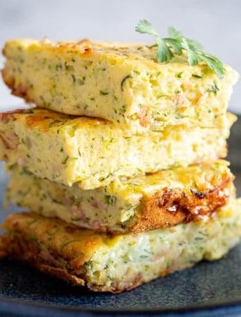Close up shot of a stack of zucchini slice.