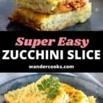 A collage of zucchini slice images with text overlay.