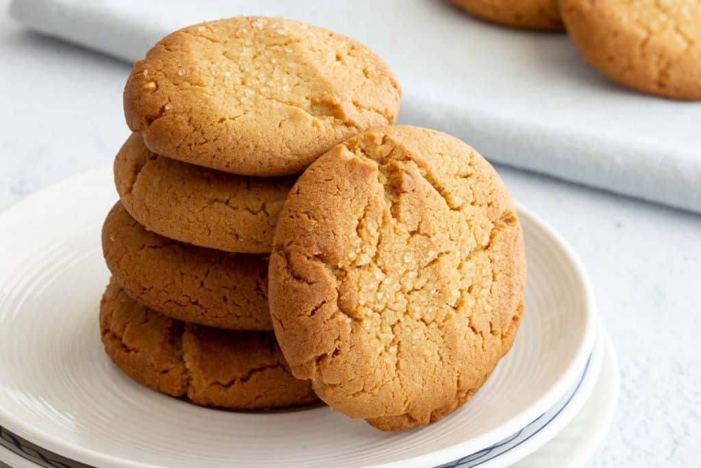 A stack of miso peanut butter cookies.