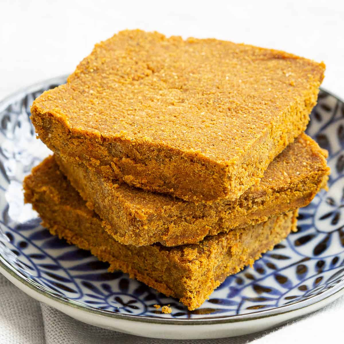 Stack of three curry roux squares.