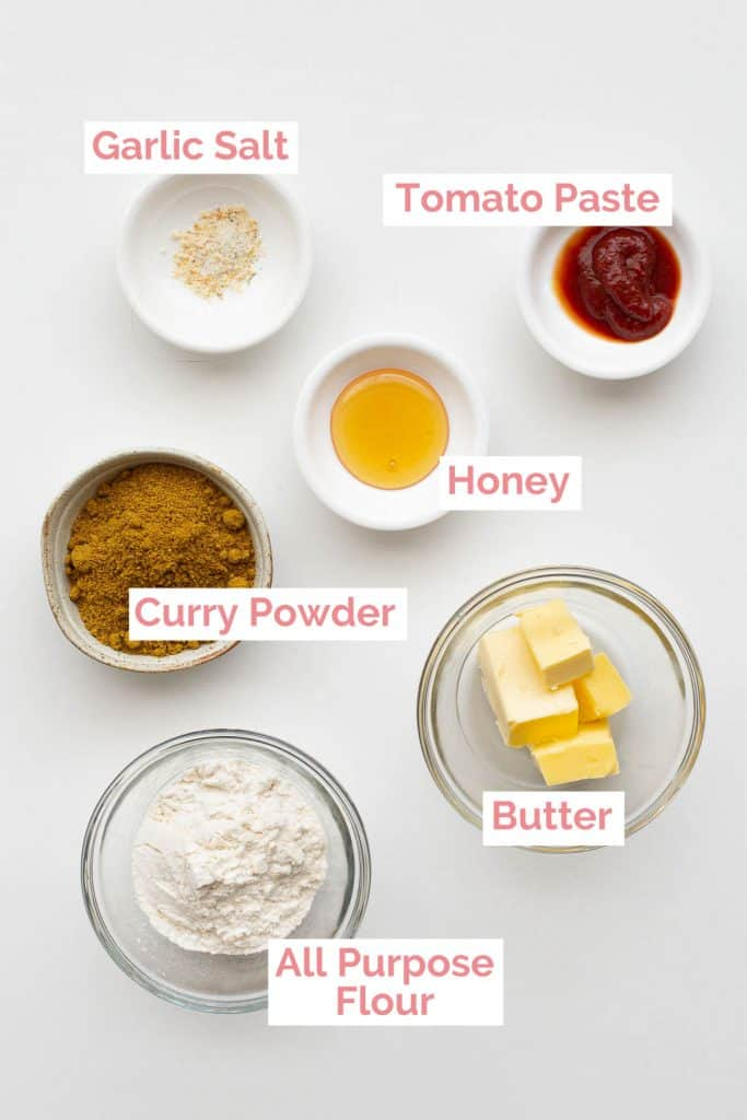 Ingredients laid out to make Japanese curry roux.