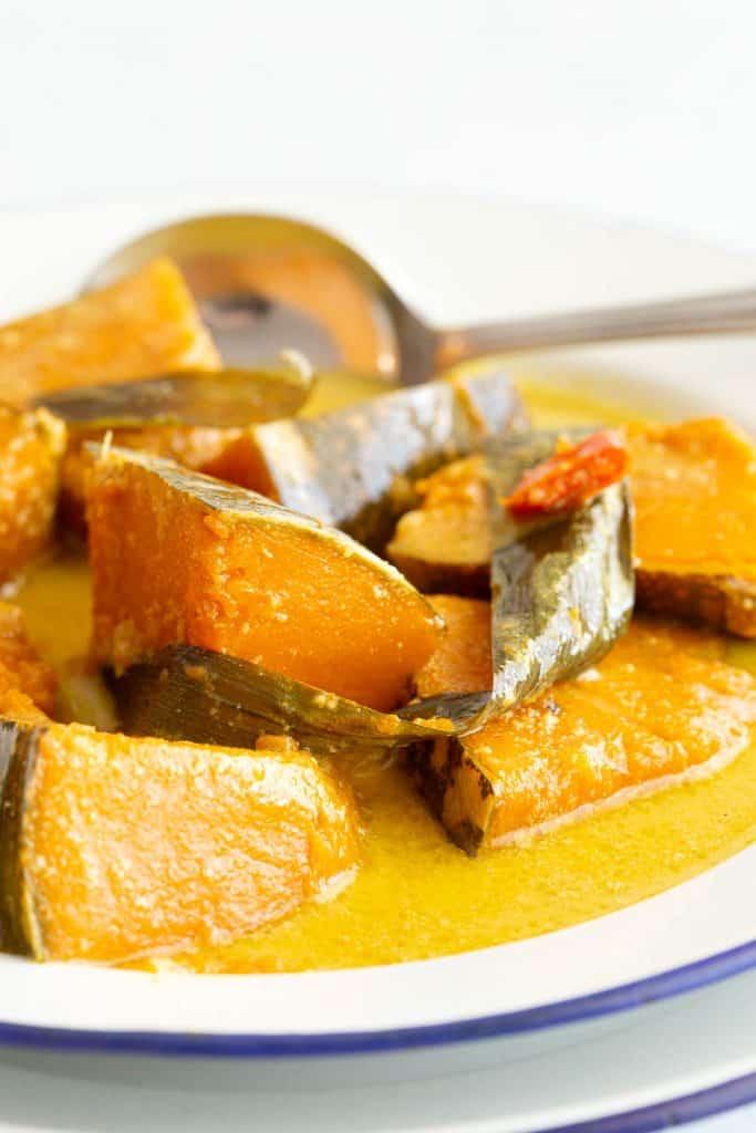 Close of soft pumpkin in wattakka kalu pol curry.
