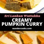 Japanese pumpkin in a creamy coconut curry, in a white bowl.