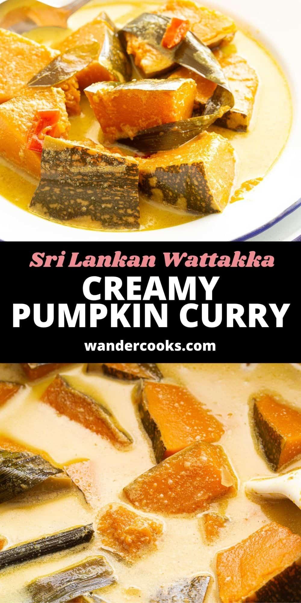 Creamy Sri Lankan Pumpkin Curry - Wattakka Kalu Pol
