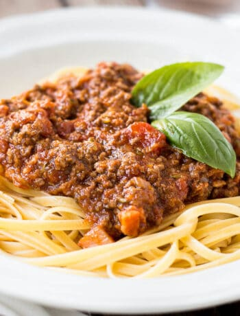 Bowl of meaty weeknight bolognese, ready to eat.