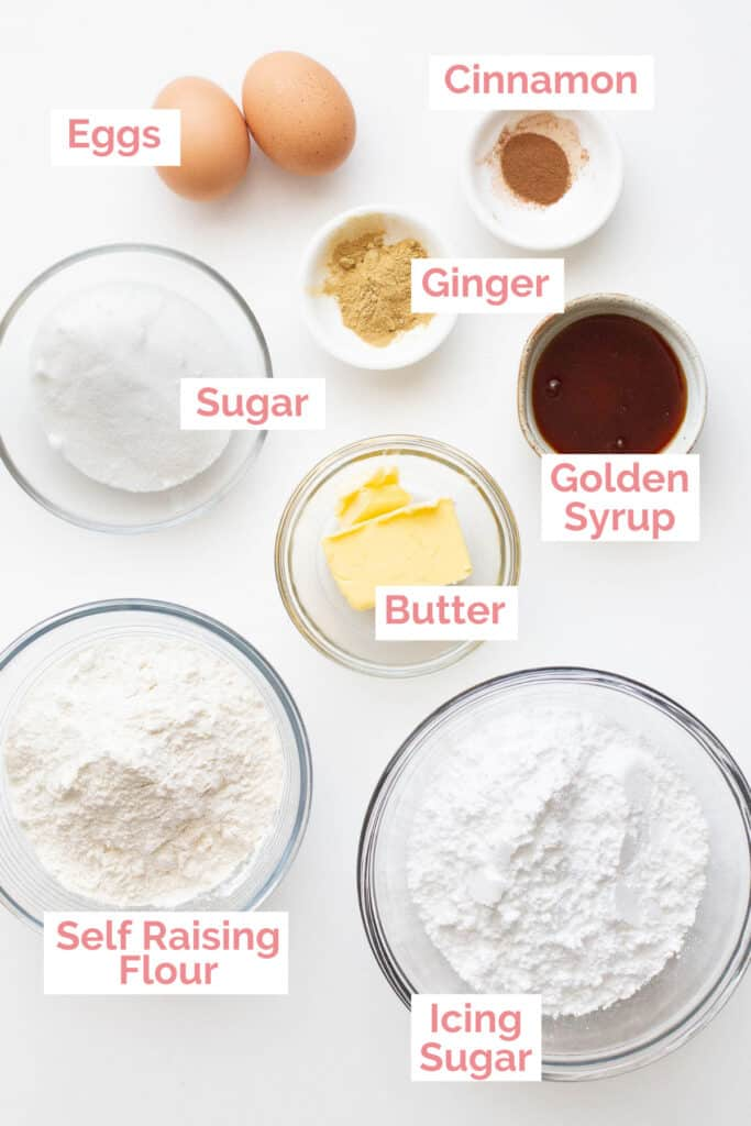 Ingredients laid out to make ginger kisses.