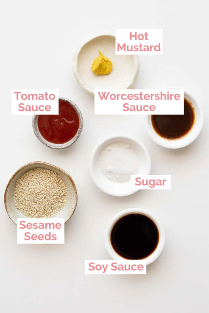 Ingredients laid out to make homemade tonkatsu sauce.