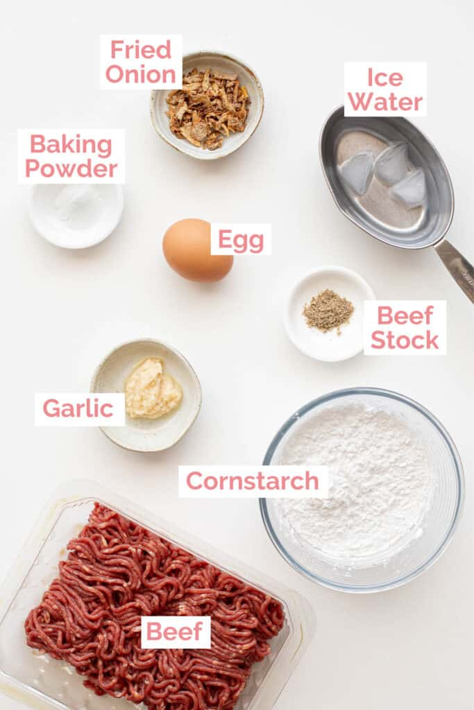 Ingredients laid out to make bakso broth.
