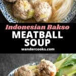 Two angles of a bowl of bakso with sambal and kecap manis.