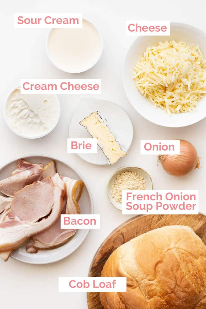 Ingredients laid out to make a cheese and bacon cob loaf.