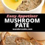 Mushroom pate in a ramekin and spread on sourdough toast.