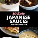 Mentsuyu, takoyaki, okonomiyaki and goma dare homemade Japanese sauces.