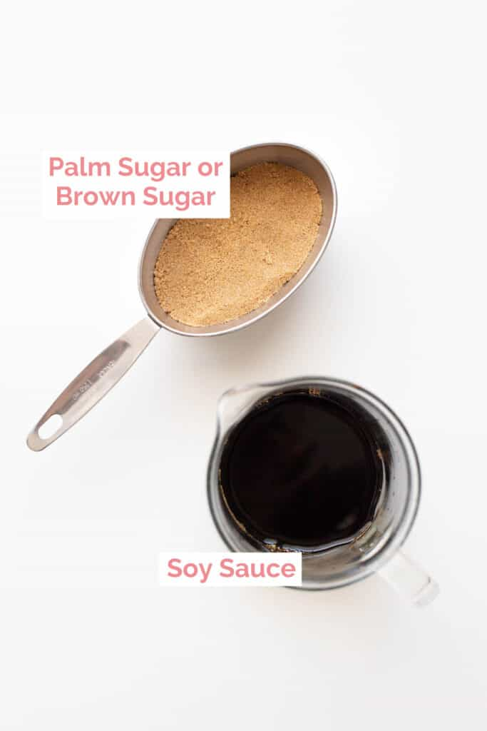 Soy sauce and brown sugar laid out to make kecap manis.