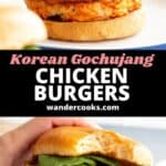 Two angles of a Korean chicken burger, one with bite taken out.