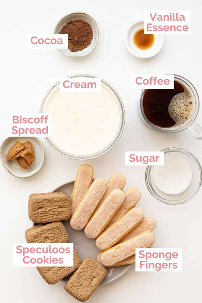 Ingredients laid out for speculoos tiramisu.