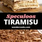 Two images showing the top and layers of a speculoos tiramisu.