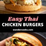Two angles of a Thai chicken burger - one on a plate and another on a wooden board.