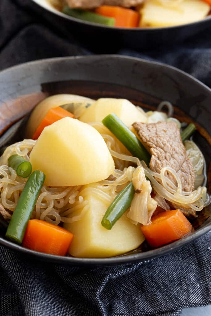 Close up of bowl of Japanese beef and potato stew.