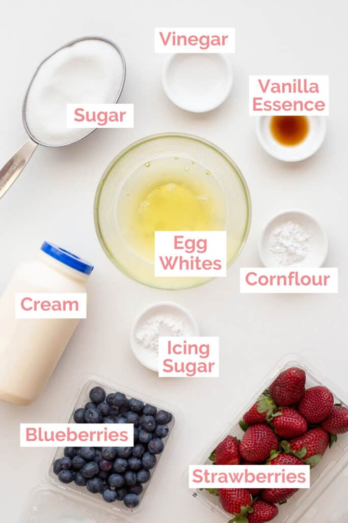 Ingredients laid out to make a pavlova roll.