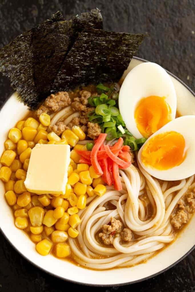 Top view of miso ramen filled with toppings.