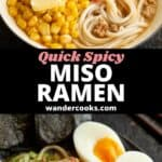 Two angles of Japanese miso ramen in a white and black bowl.