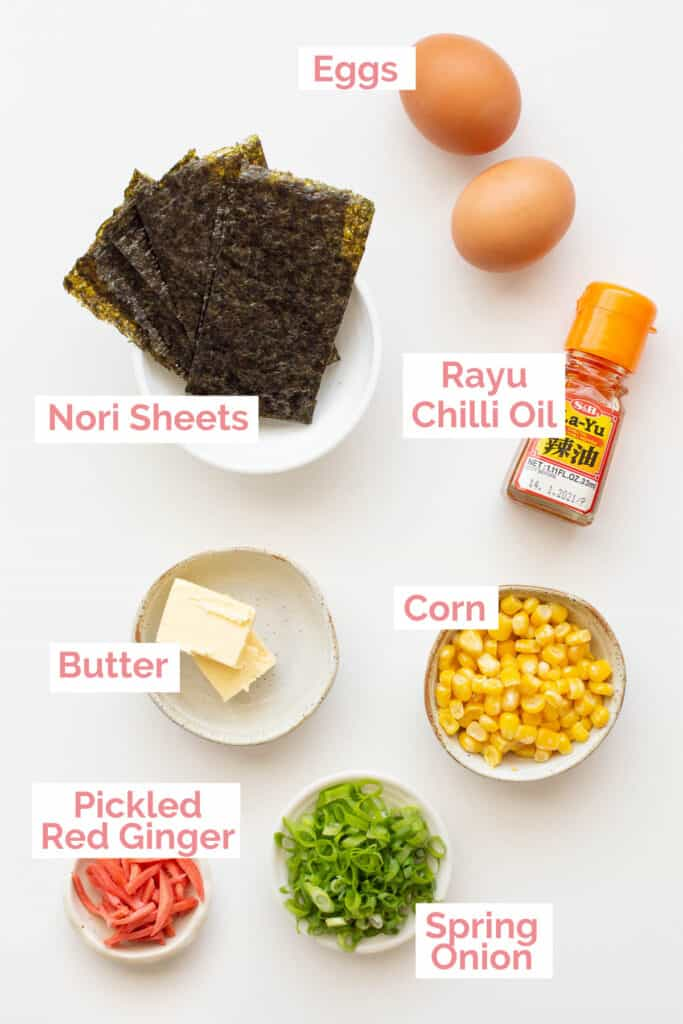 Topping options laid out for spicy miso ramen.