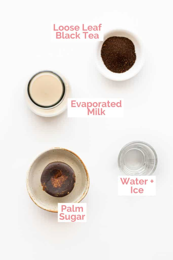 Ingredients laid out to make 3 layer tea.
