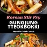 Wok and bowl full of freshly stir fried Korean Gungjung Tteokbokki.
