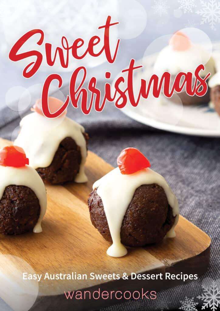 Mini Christmas truffles with text overlauy.
