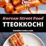 Tteokkochi skewers in a cup and on a plate